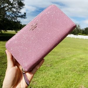 Kate Spade ♠️ Glitter Rose Gold Large Wallet